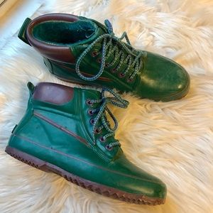 Shoes - Vintage 90s green purple duck rain boots size 6